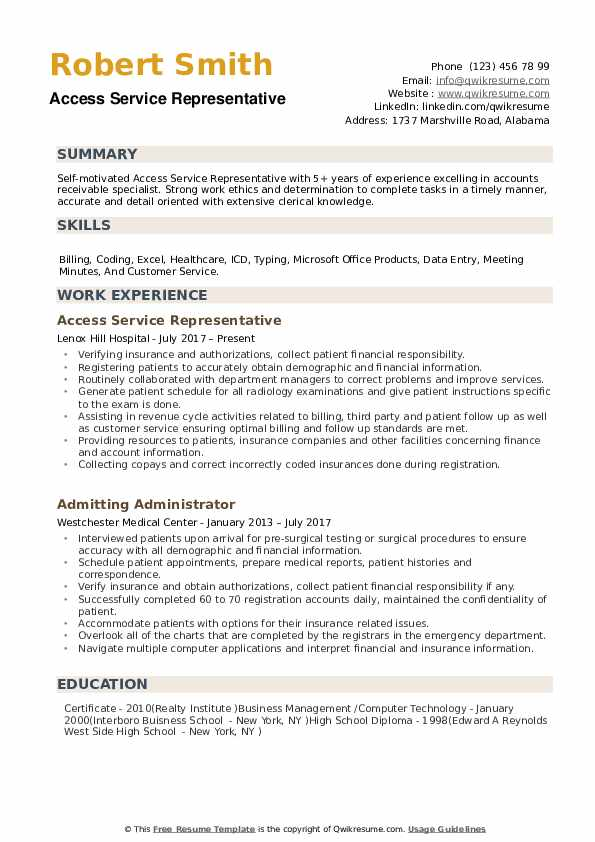 Access Service Representative Resume example