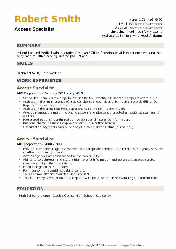 Access Specialist Resume example