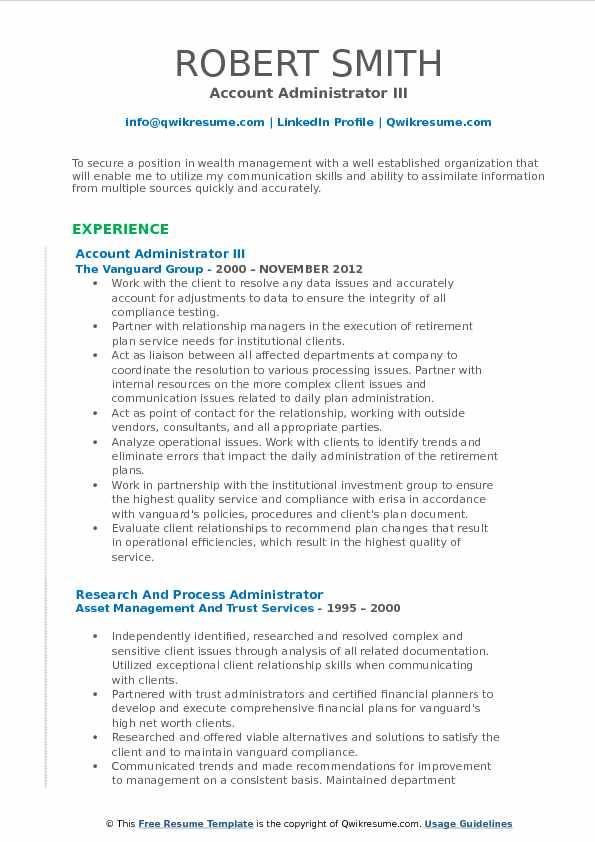 Account Administrator III Resume Model