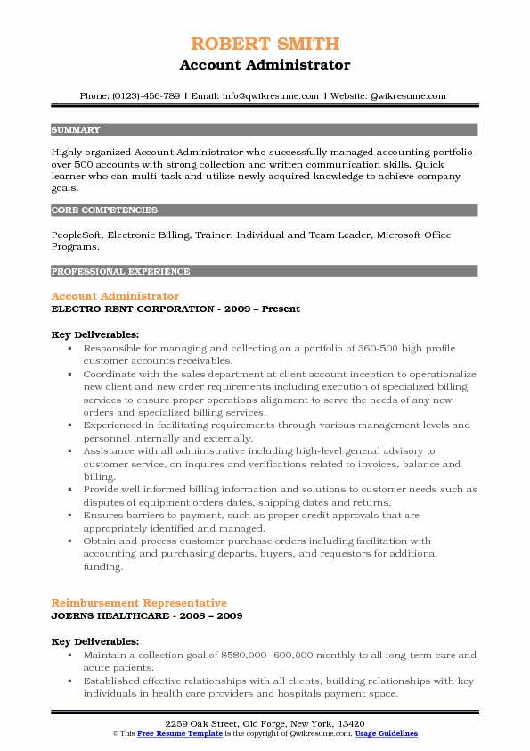 Account Administrator Resume Template