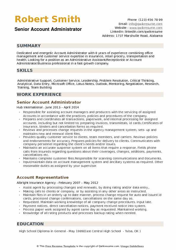 senior account administrator resume sample - Education Administrative Resume Samples