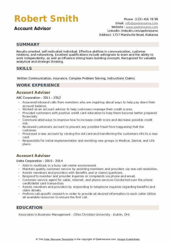Account Advisor Resume example