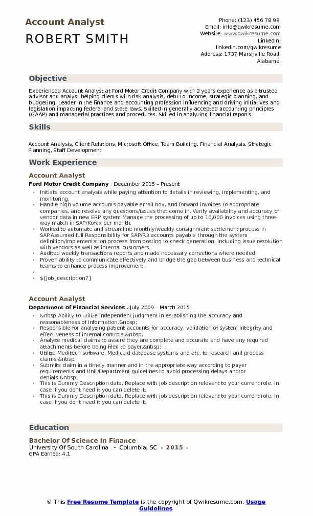 Account Analyst Resume Format