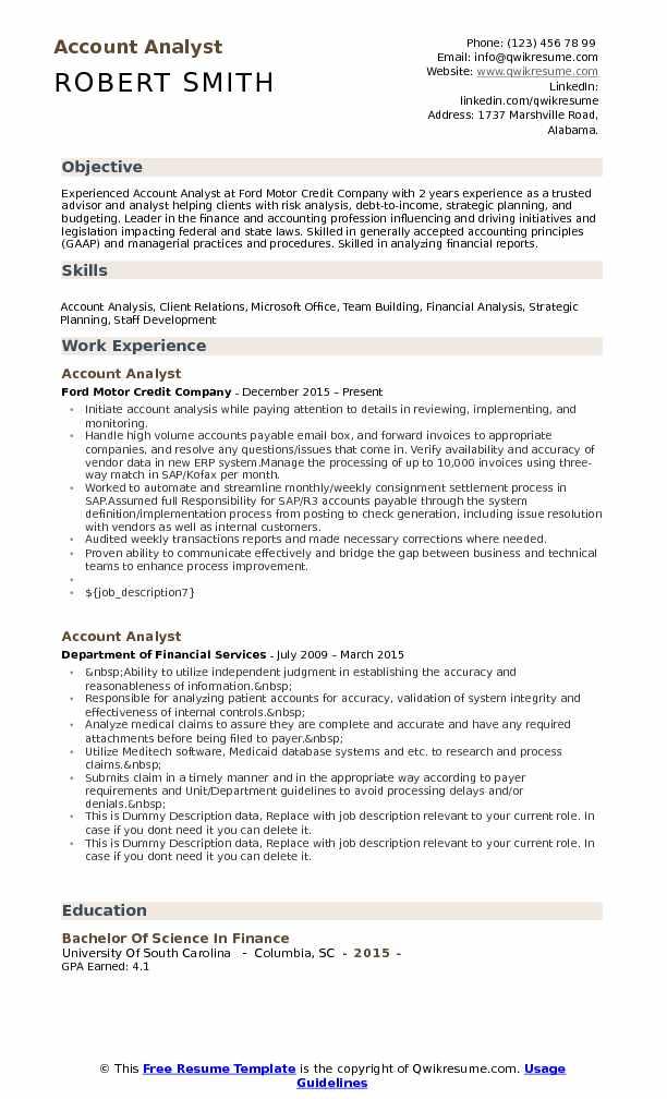 Account Analyst Resume Model