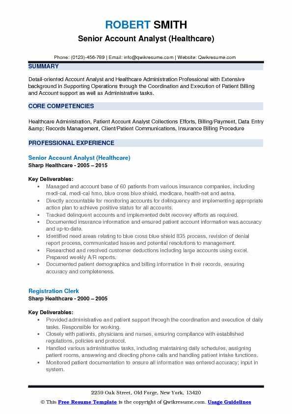 Senior Account Analyst (Healthcare) Resume Sample
