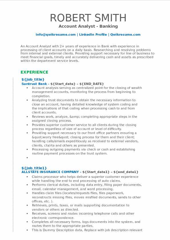 Account Analyst - Banking Resume Format
