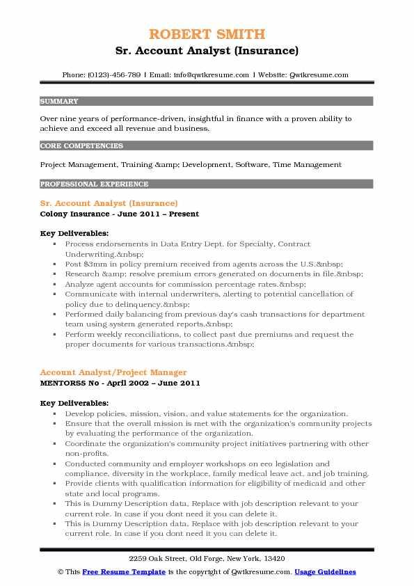 Sr. Account Analyst (Insurance) Resume Format