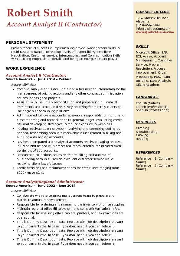 Account Analyst II (Contractor) Resume Sample