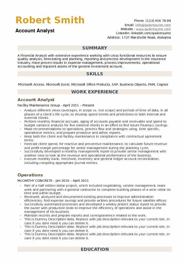 Account Analyst Resume Template