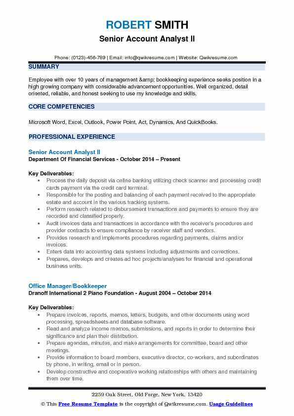 account analyst resume samples