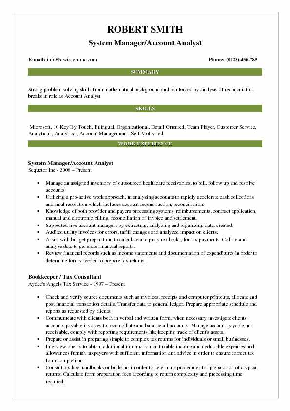 System Manager/Account Analyst Resume Example