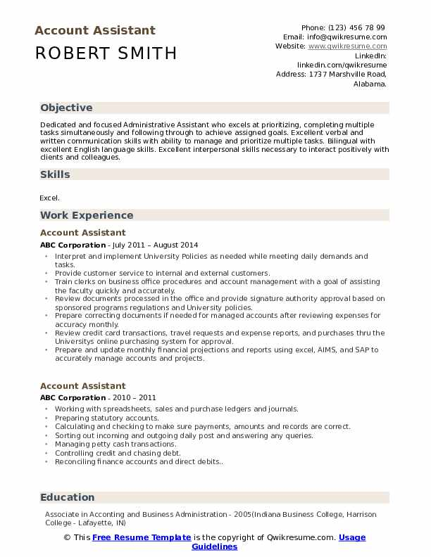 Account Assistant Resume Format