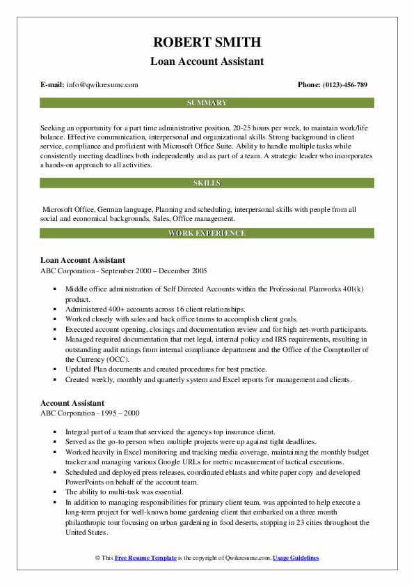 Loan Account Assistant Resume Model