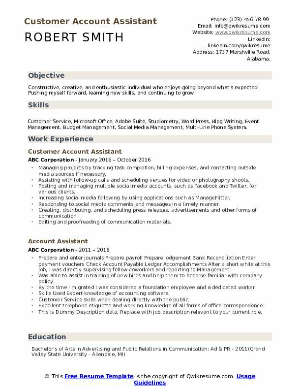 Customer Account Assistant Resume Model