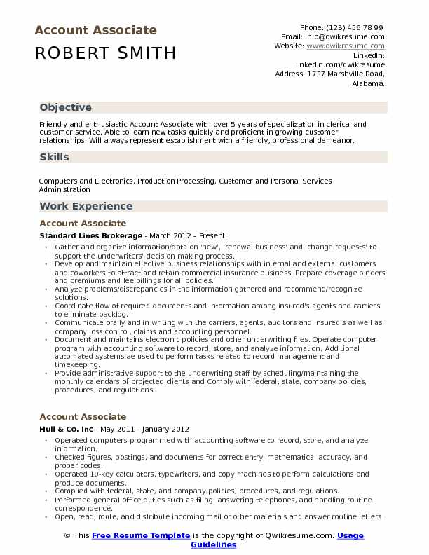 Account Associate Resume Sample