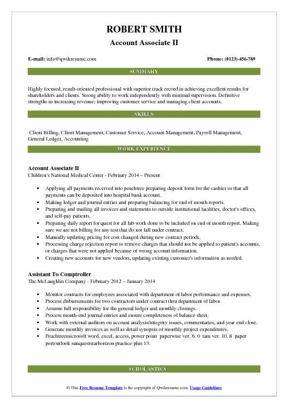 Account Associate II Resume Sample