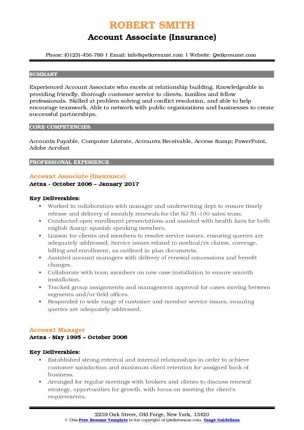 Account Associate (Insurance) Resume Sample
