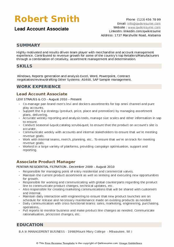 Lead Account Associate Resume Sample