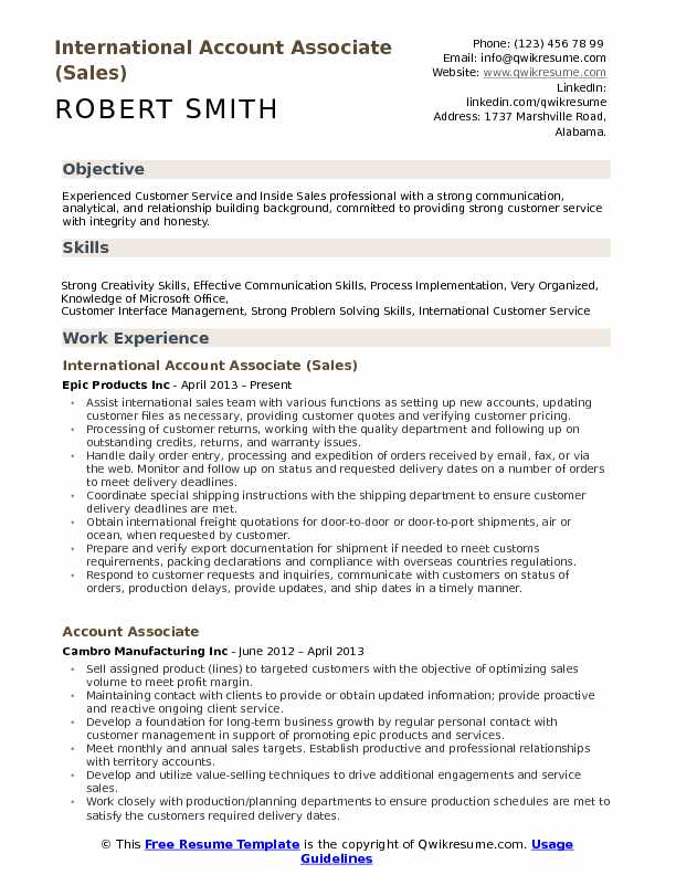 International Account Associate (Sales) Resume Template