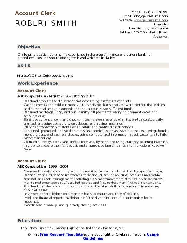 Account Clerk Resume Sample