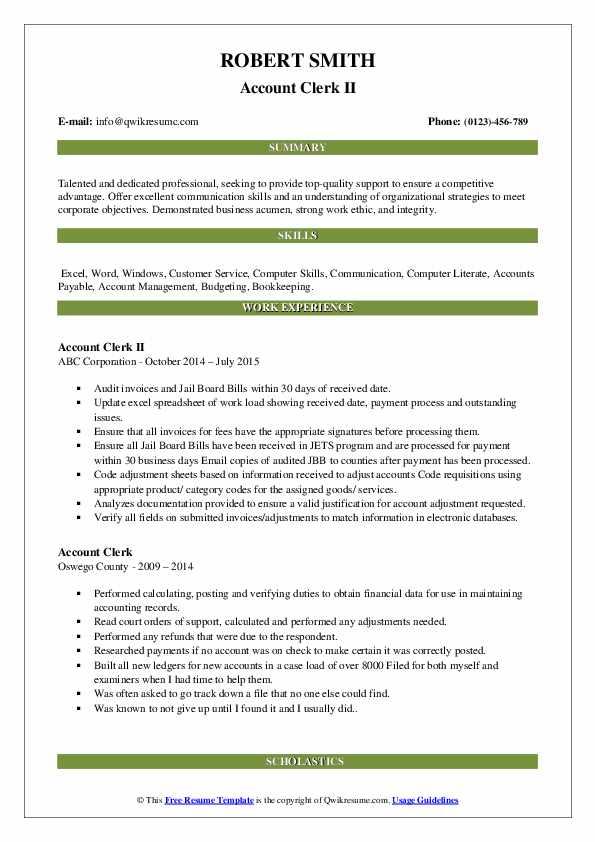 Account Clerk II Resume Example
