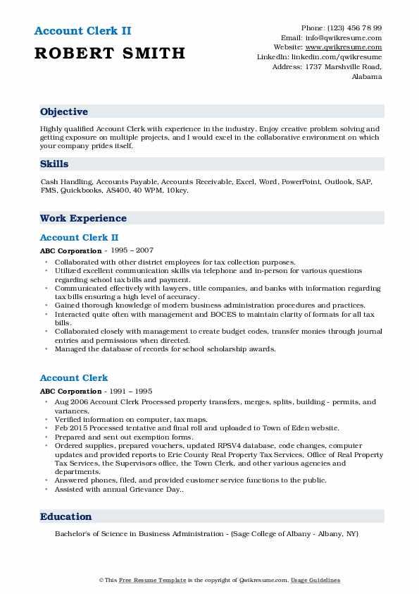 Account Clerk II Resume Format