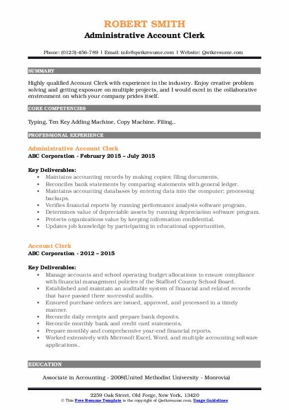 Administrative Account Clerk Resume Example