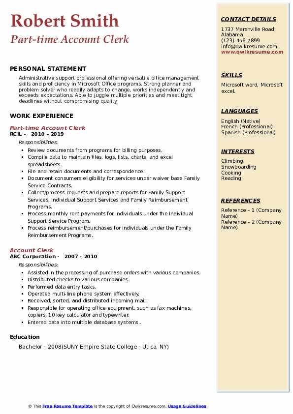 Part-time Account Clerk Resume Model