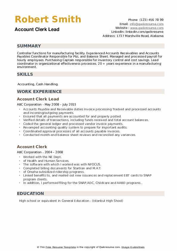Account Clerk Lead Resume Sample