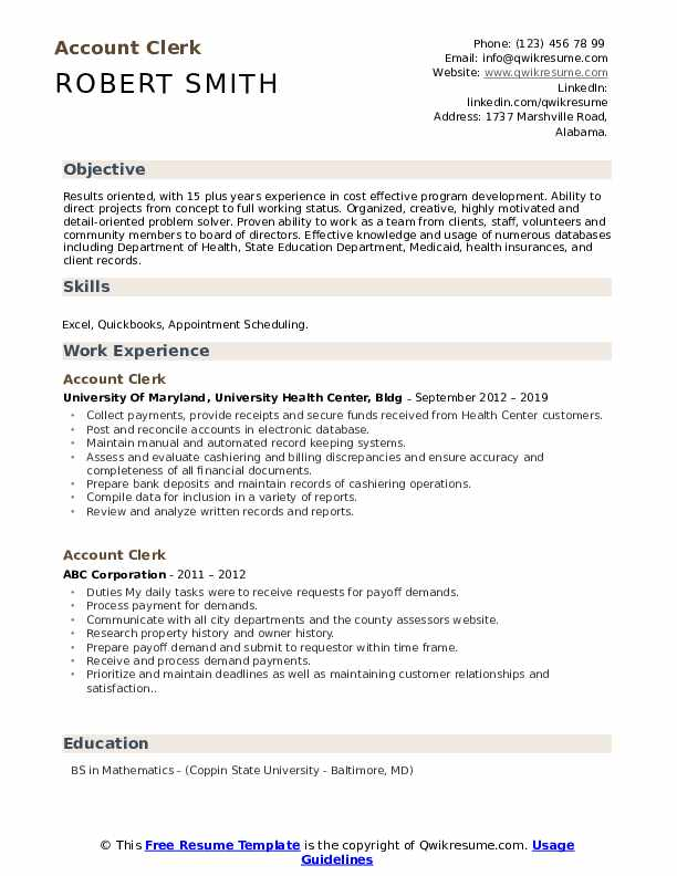 Account Clerk Resume example
