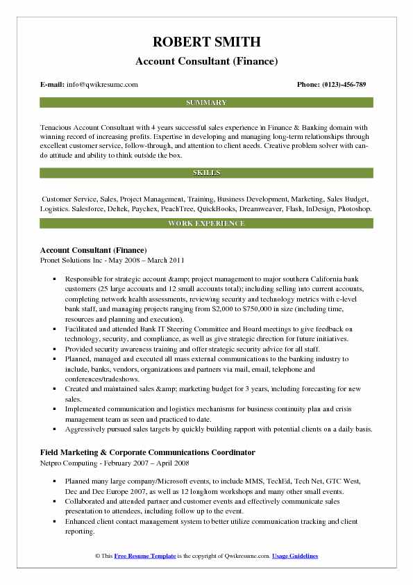 Account Consultant Resume Samples