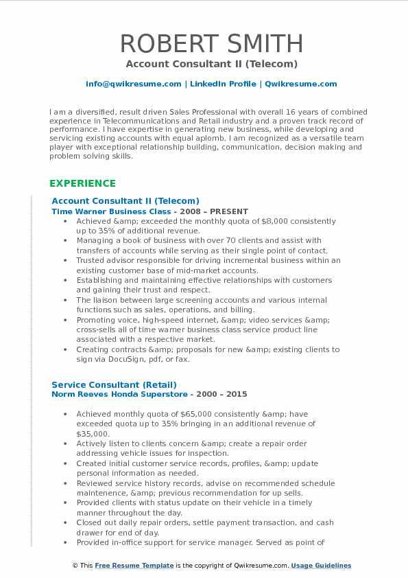 Account Consultant II (Telecom) Resume Sample