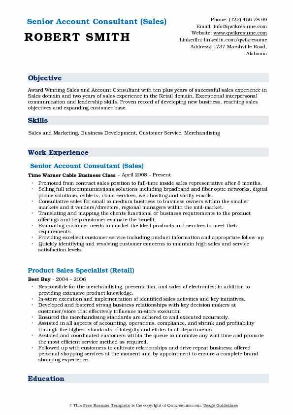 Senior Account Consultant (Sales) Resume Example