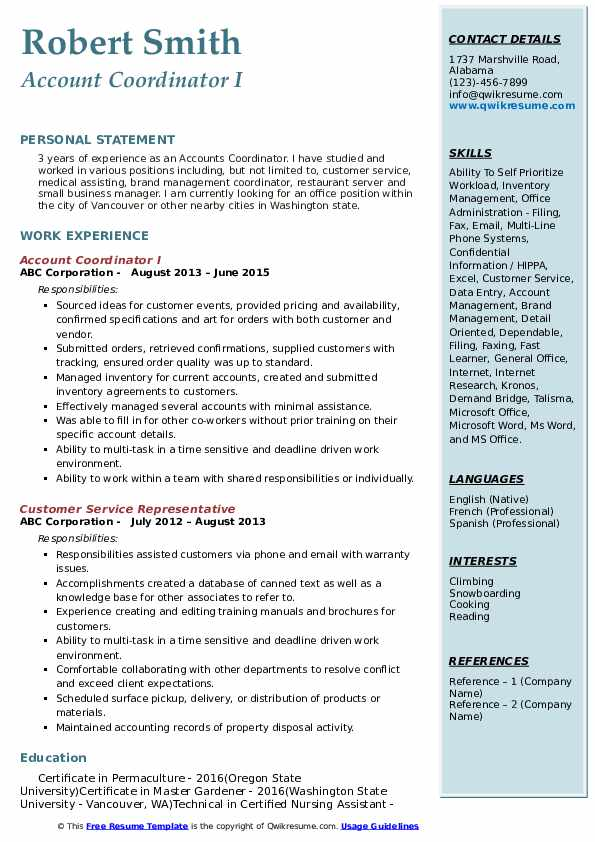 Account Coordinator I Resume Template