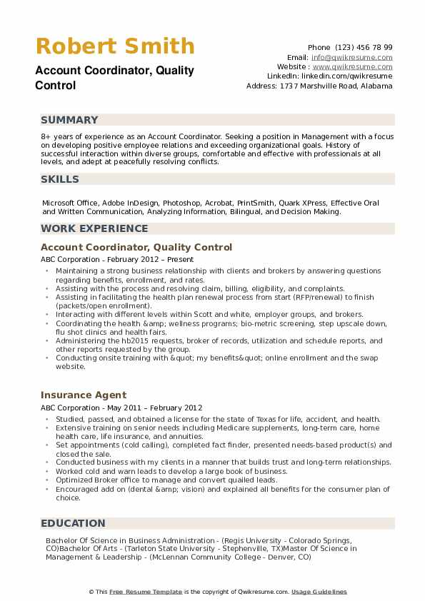 Account Coordinator, Quality Control Resume Sample