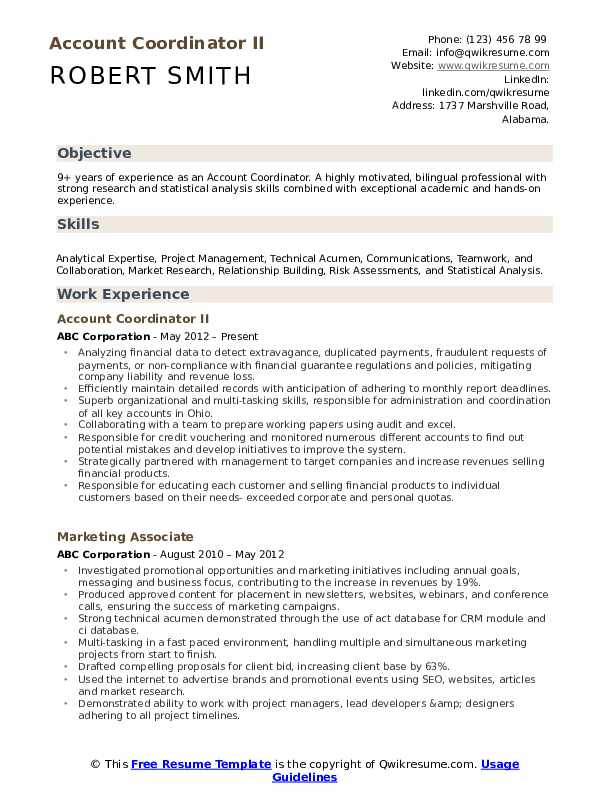 Account Coordinator Resume example