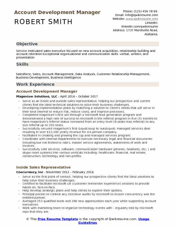 Account Development Manager Resume Sample  Business Development Manager Resume