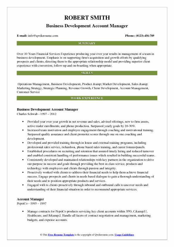 Business Development Account Manager Resume Template