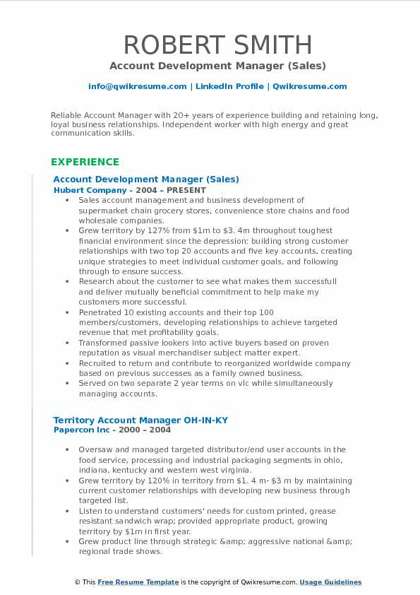 Account Development Manager (Sales) Resume Template