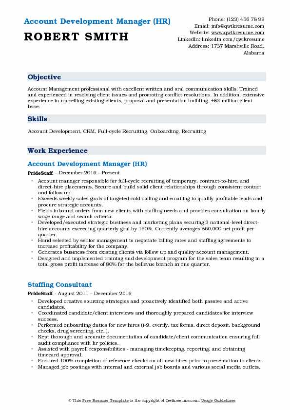 Account Development Manager (HR) Resume Sample