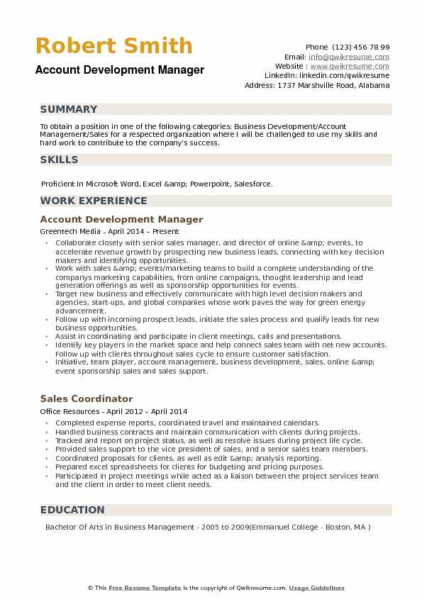 Account Development Manager Resume example