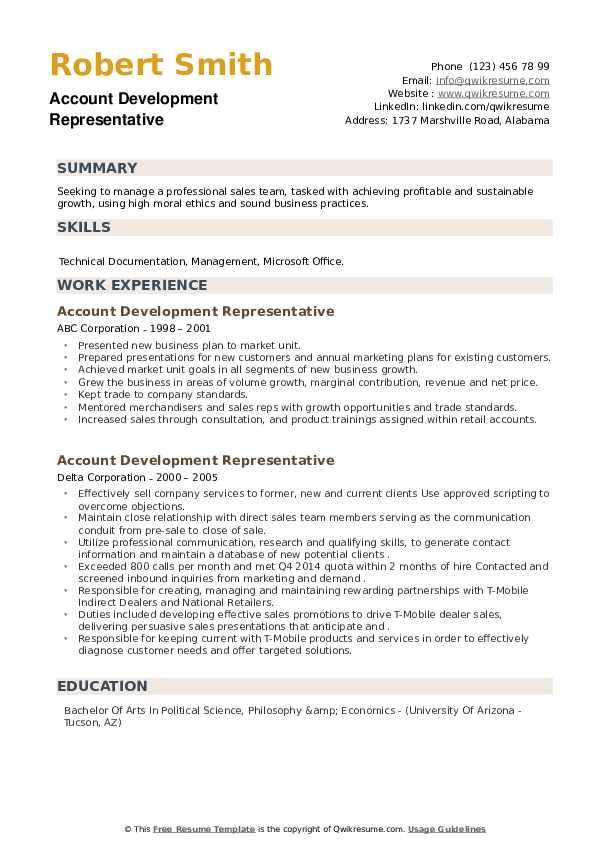 Account Development Representative Resume example