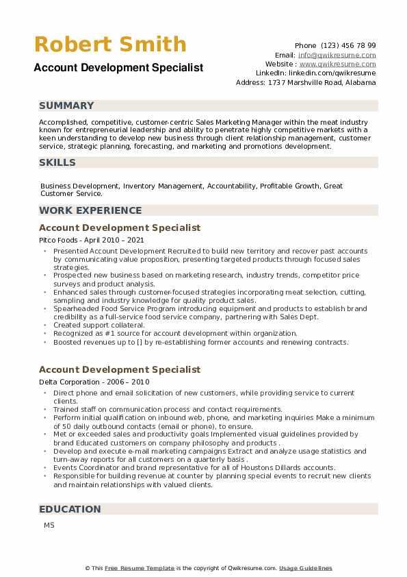 Account Development Specialist Resume example