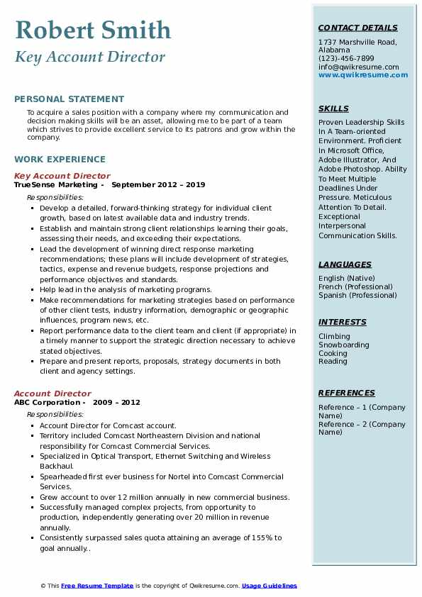 Key Account Director Resume Template