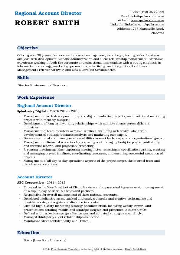 Regional Account Director Resume Template
