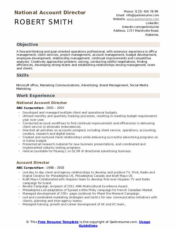 National Account Director Resume Sample