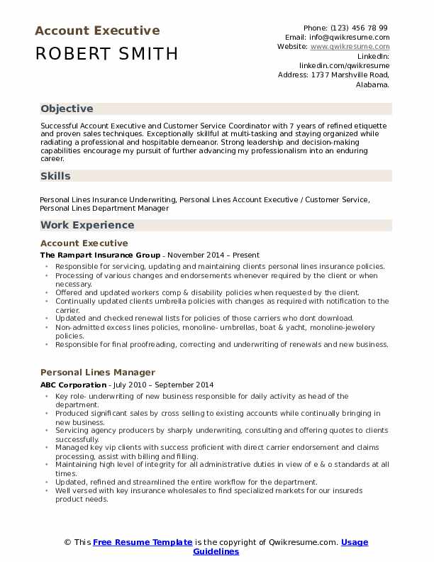 Account Executive Resume Format