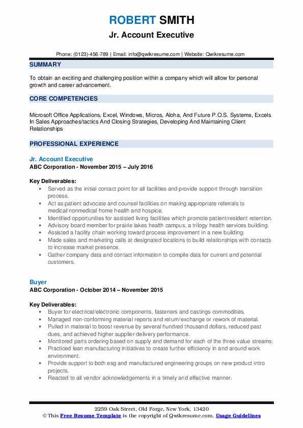 Jr. Account Executive Resume Example