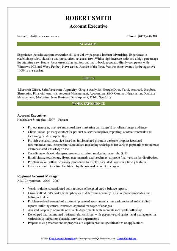 Account Executive Resume Template