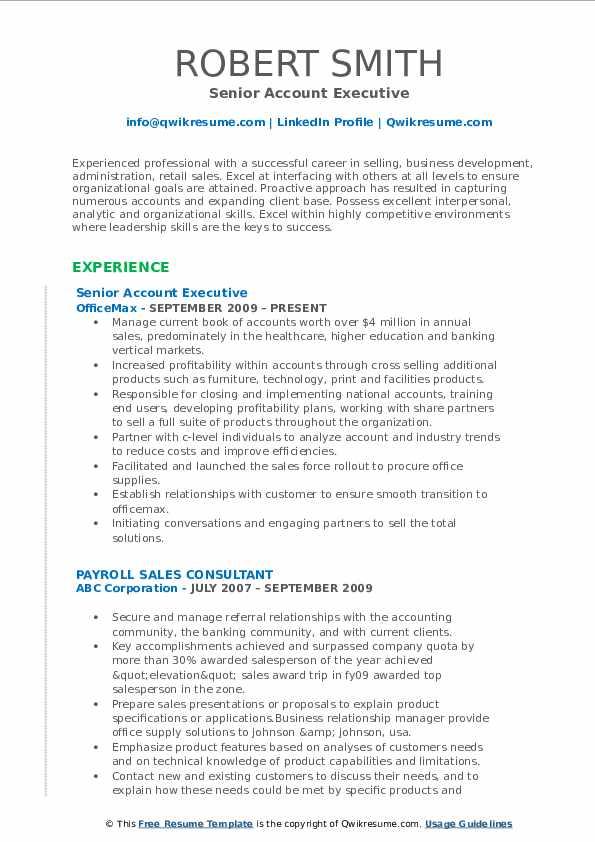 Senior Account Executive Resume Sample